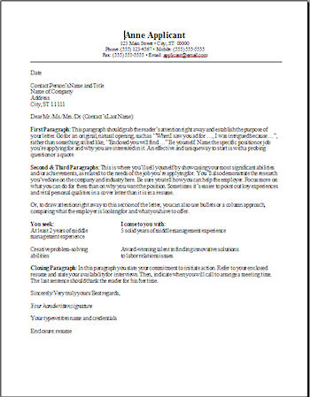 Cover Letter Templates  Free Resume Cover Letter Templates And Outline