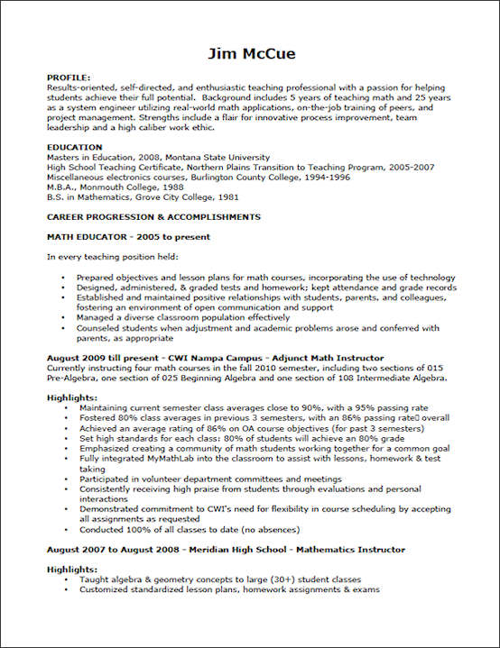 teaching resume example sample teacher resume - Sample Educational Resume