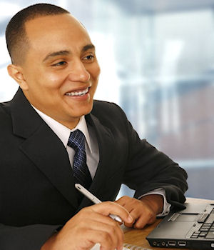 Photo of a happy banker - financial executive