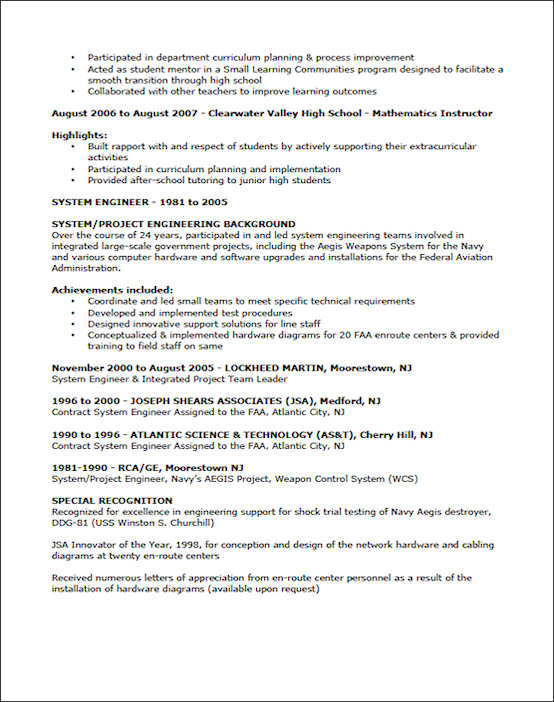 Examples Of Teachers Resumes